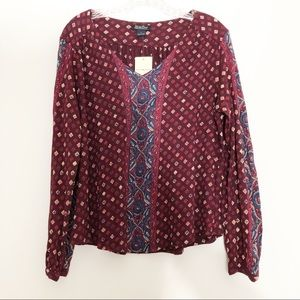Lucky Brand Boho Printed Long Sleeve Top Sz Large